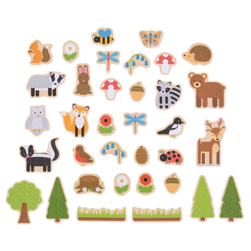 Bigjigs Toys Wooden Woodland Magnets - 35 Magnets