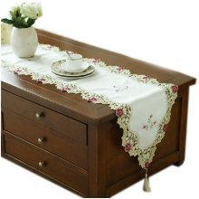 Chic Camellia Table Runner for Wedding Embroidery Long Table-runner 94.5''