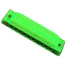 10 Holes Learning Toy Harmonica Wooden Educatial Muscic Toy Green