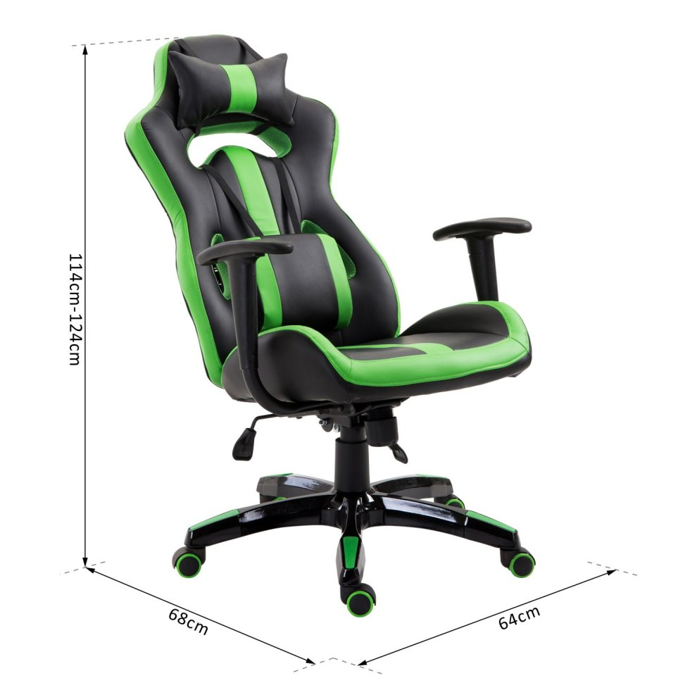 Homcom Gaming Office Chair Pu Leather Green 8