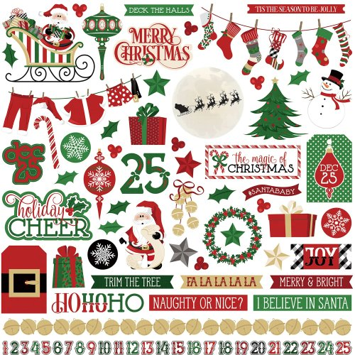 """Here Comes Santa Stickers 12""""X12""""-Elements"""