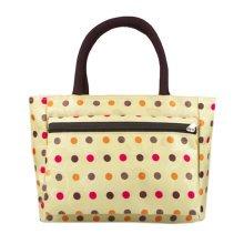Ladies Fashionable Zipper Purse Handbag Printed Tote Bag  Colorful Dots Yellow
