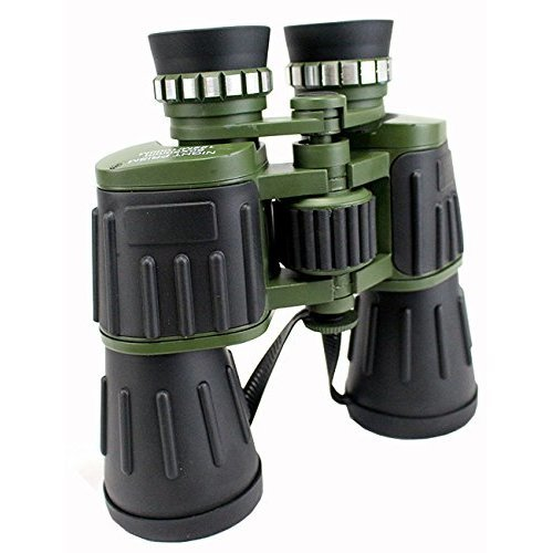 Perrini Day / Night Prism Black and Green Military Binoculars with Pouch