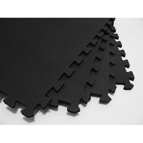 We Sell Mats 24 Tiles Borders Anti-Fatigue Interlocking EVA Foam Exercise, 2 x 3/8, Black