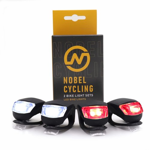 Nobel Cycling Bike lights set 4-PACK - rear and front bike lights - waterproof and sturdy silicone housing - black colour - easy to install -...