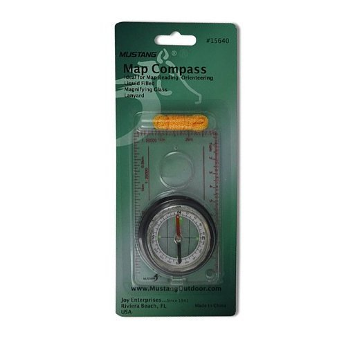 Fury Mustang Map Compass with Magnifier, 4.25 x 2.35-Inch Metric