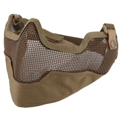 Airsoft Strike V2 Steel Half Face Mesh Mask With Ear Protection Tan Khaki Uk