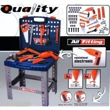 deAO Childrens Toy Folding Workbench and Tool Set | Toy Tool Kit & Play Set