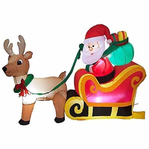 180cm Santa In Sleigh With Reindeer Inflatable White Box - Outdoor Christmas -  inflatable santa outdoor christmas decoration light up giant shapes