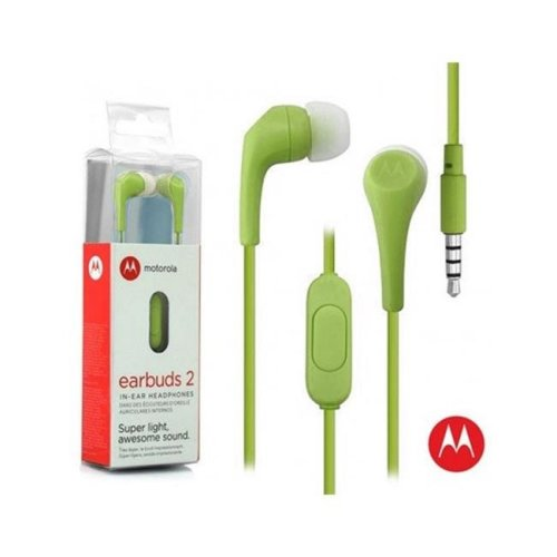 Motorola MO-SH006OLV 3.5 mm Hands Free Earbuds 2 Premium Stereo with Remote & Mic - Olive Green