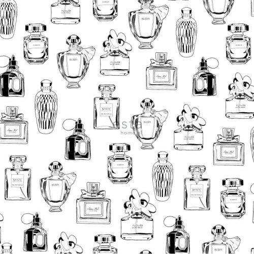 HD non-woven wallpaper perfume bottles black and white