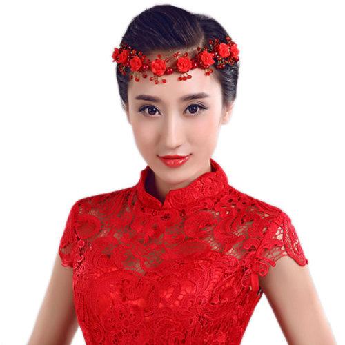 Flower Rhinestones Beads Bridal Wedding Lace Headband Hair Accessories, A