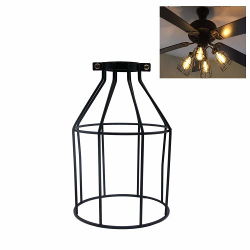 "Velidy Vintage Lampshade, Velidy Industrial Retro Metal Bird Cage Lamp Guard Open Style Black Pendant Wire Lamp/Light Guard Cage Lampshades - 7.4""..."