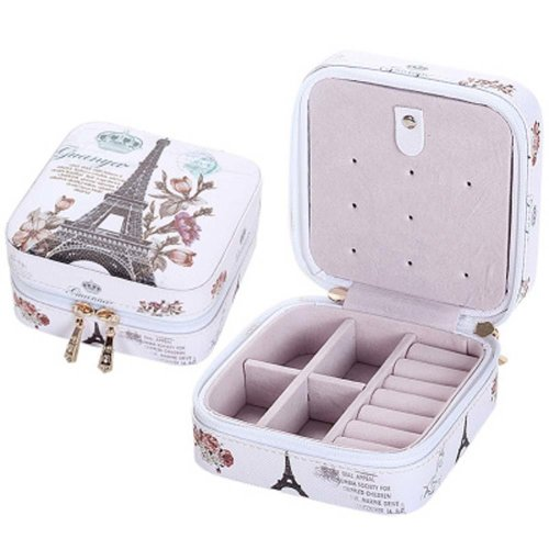 Small Jewelry Box Rings Earrings Necklace Organizer Display Storage Case for Travel, F
