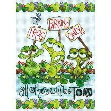 """Dimensions 14 Count Frog Parking Mini Counted Cross Stitch Kit, 5"""" By 7"""" - Kit -  frog parking cross stitch dimensions kit counted d7065148 mini"""