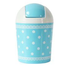 2PCS Cute Mini Trash Can Bin Desk Wastebasket with Lid for Home/Office, Blue