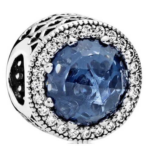 Pandora Midnight Blue Radiant Hearts Charm - 791725NMB