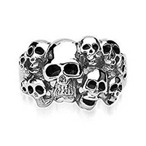 10 Multi Skull Cluster Surgical Steel Ring