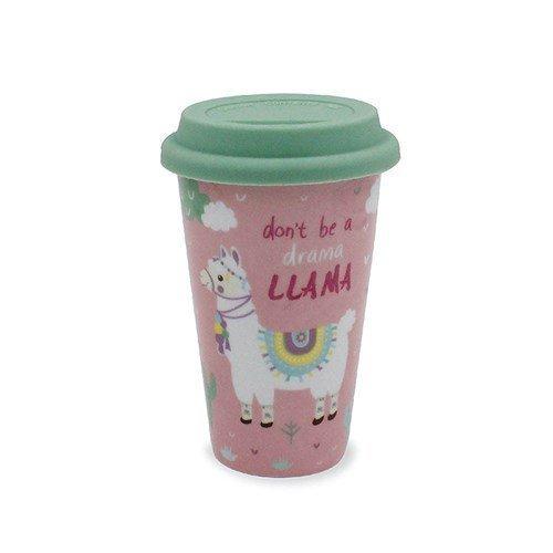 Don't be a Drama Llama Travel Mug - Ceramic Mug with Silicone Lid - Llama Lover Gift Idea