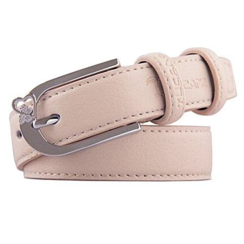 Ladies Fashionable Joker Belts Bales Casual Catch Leather Pin buckle Beige