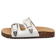 Meredith Womens Flat Footbed Buckle Sandals