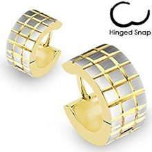 Pair of Gold Plated Brushed Steel Square Grids Surgical Steel Hinged Snap Close Huggy Hooped Earrings 0.8mm Thickness