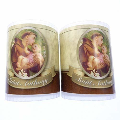 2 x St. Anthony candle Burns for 24 hours Picture on the front Prayer on the back 2.5 inch tall