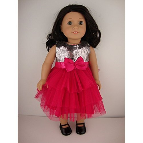 Really Cool Hot Pink Tulle Dress with Silver Sequined Bodice Designed for 18 Inch Doll Like the American Girl Dolls