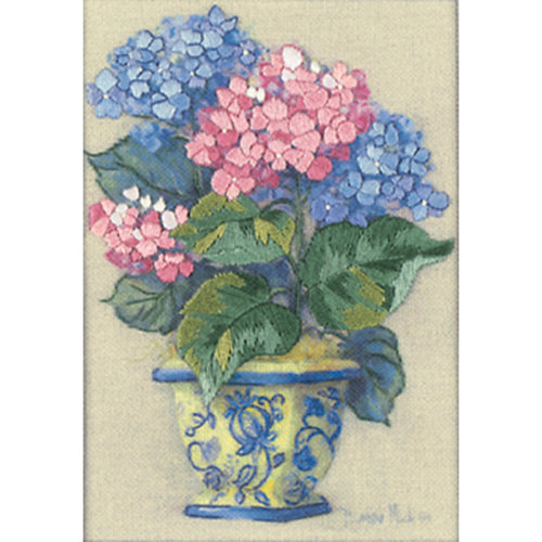 "Dimensions/Jiffy Mini Crewel Kit 5""X7""-Colorful Hydrangeas-Stitched In Thread"