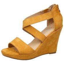 Nadine Womens High Wedge Heel Platform Peep Toe Sandals