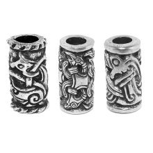 Three Celtic beard Beads - Jorvik Beast, Odins Raven, Viking Dragon