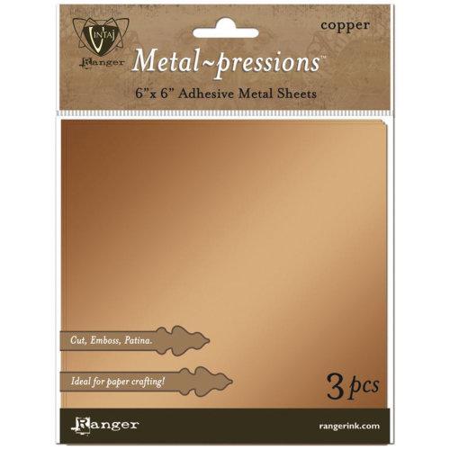 """Vintaj Metal-pressions Adhesive Metal Sheets 3/Pkg-Copper 6""""X6"""""""