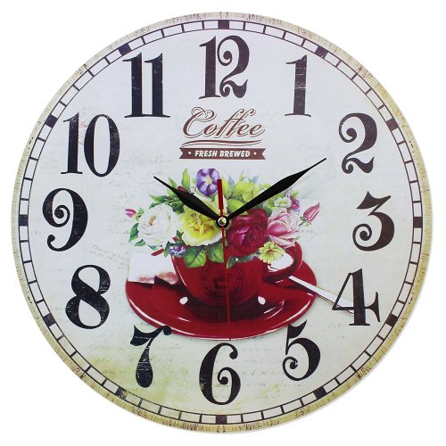 Obique Home Decoration Flowers & Cup Scene MDF Wall Clock 34cm