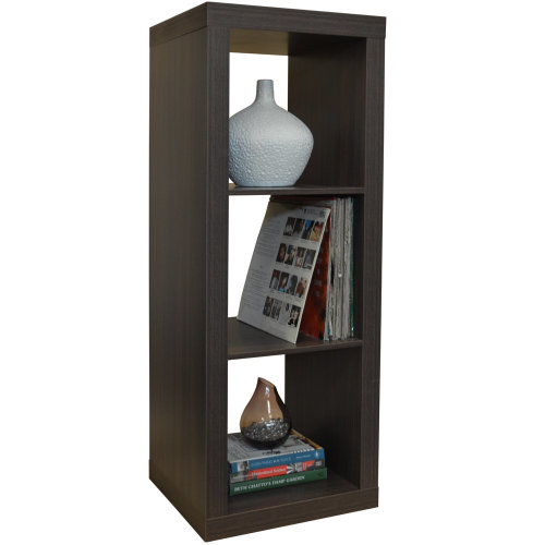 CUBE - 3 Cubby Square Display Shelves / Vinyl LP Record Storage - Walnut