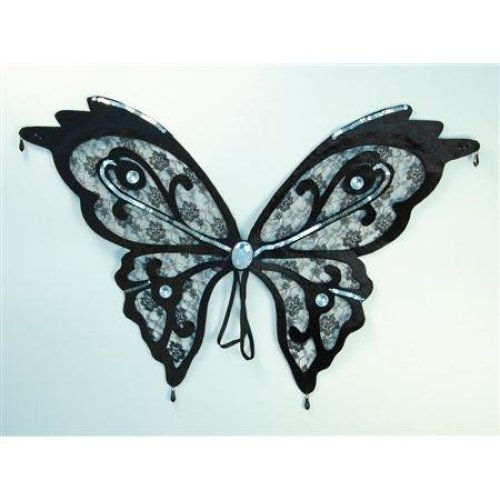 Black Lace Butterfly Wings -  wings butterfly black lace fancy dress accessory insect