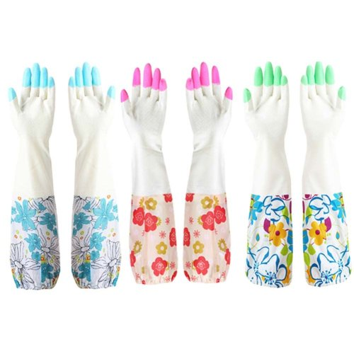 Dishwashing Gloves Thick Cleaning Gloves Household Gloves /Set Of  3