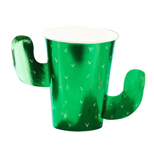 Viva La Fiesta Cactus Foiled Paper Cups x 8 Mexican Party