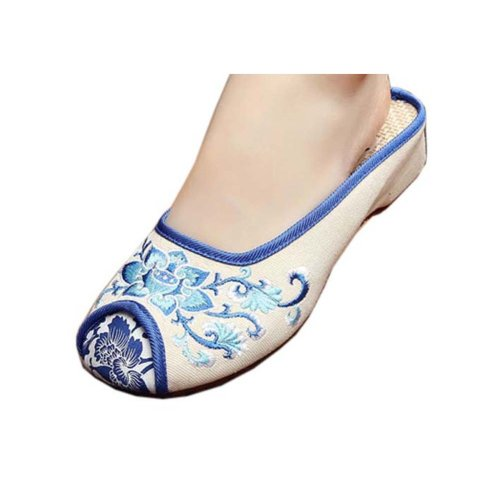 Womens Embroidered Summer Slippers Wedges Sandals Shoes for Cheongsam, #09