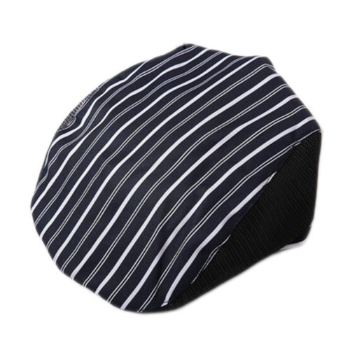 Fashion Cook Hats Hotel Cafe Breathable Mesh Chef Hats-Blue Stripe