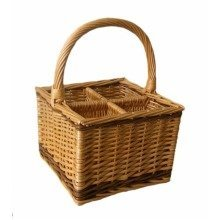 4 Bottle Steamed Wicker 2 Tone Bottle Carrier