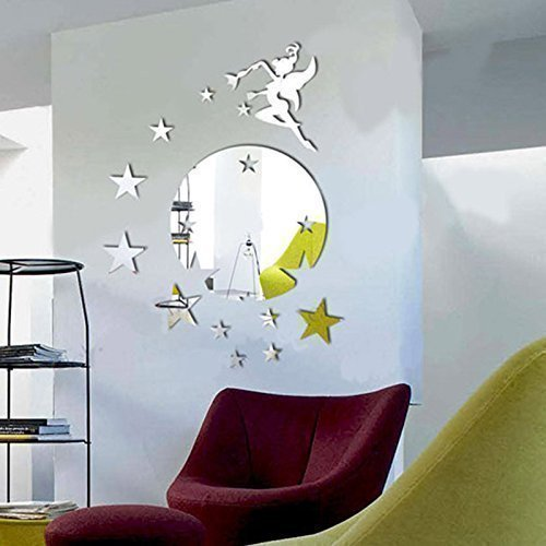 Walplus Mirror Wall Art  Flying Fairy Tinker Bell with Stars Round  Wall Stickers Removable Self-Adhesive Mural Decals Vinyl Home Decoration DIY...