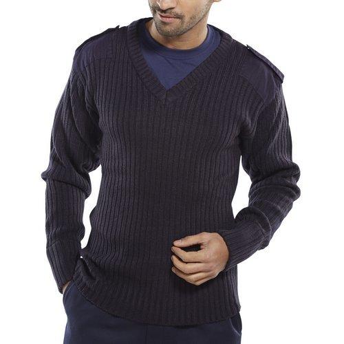 Click AMODVNL Acrylic MOD Military Style Sweater V Neck Navy Large