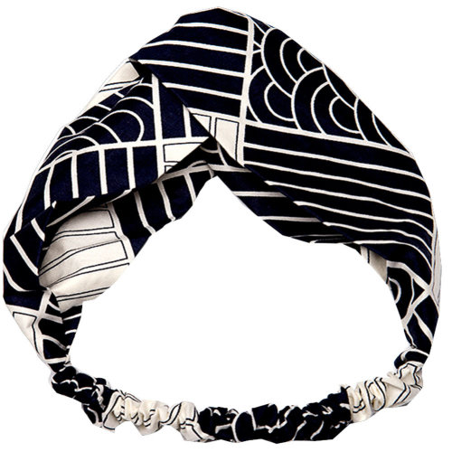 Adjustable Bow Japanese Styles Cross Hair Band Headband For Women, Black and White, #4