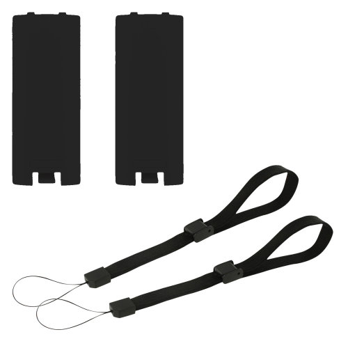 Battery cover & wrist strap kit for Nintendo Wii remote controller - 4 in 1 pack black - ZedLabz