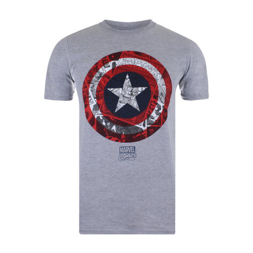 a5254d904 (L) Marvel CA Comic Shield Mens T-shirt Grey on OnBuy