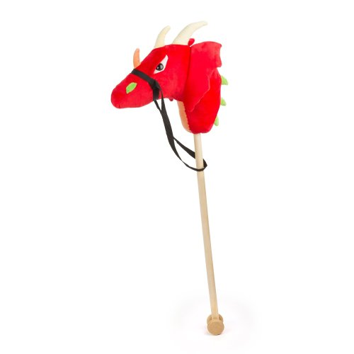 small foot design 10821 Hobby Horse with Dragon Head Made of red, Soft Plush and with a Practical Holster for Steering, Robust Wooden Rod for Big...