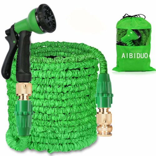 AIBIDUO Hose Pipe Expandable Garden Hose 100Ft {IMPROVED}Magic Water Hose Pipe Double Latex Core with Solid Brass Fittings & 8-pattern Spray Nozzle...