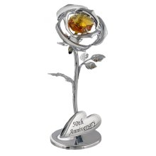 """50th Anniversary"" Silver Plated Flower with Golden Swarovski Crystal Glass by Happy Homewares"