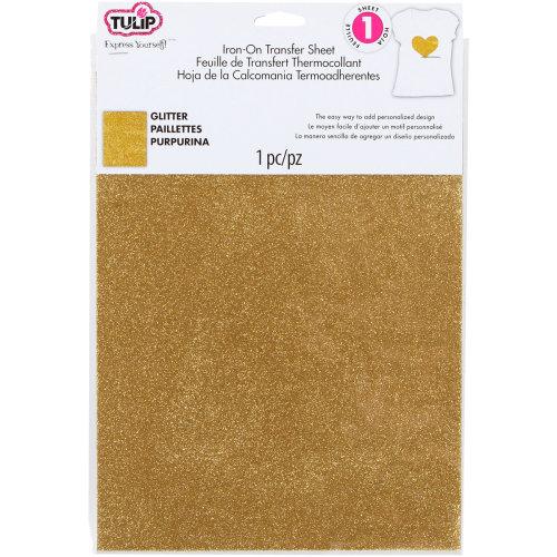 "Tulip Iron On Glitter Transfer Sheet 8.5""X11"" 1/Pkg-Gold"