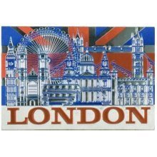 London Union Jack Flag Collage Foil Stamped Fridge Magnet Souvenir Gift Montage Big Ben Tower Bridge